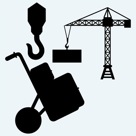 pulley: Crane working, hook of a crane and hand truck with post packages. Isolated on blue background. Vector silhouettes