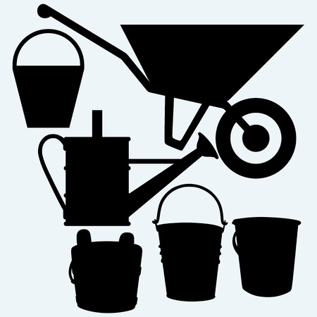Garden wheelbarrow, watering can and buckets. Isolated on blue background. Vector silhouettes