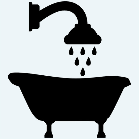 soak: Symbol view of bath and shower head. Isolated on blue background. Vector silhouettes Illustration