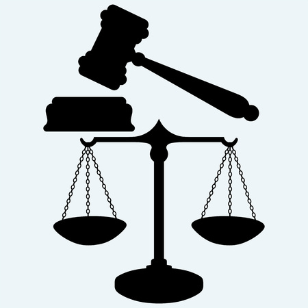 Scale and judge gavel. Isolated on blue background. Vector silhouettes