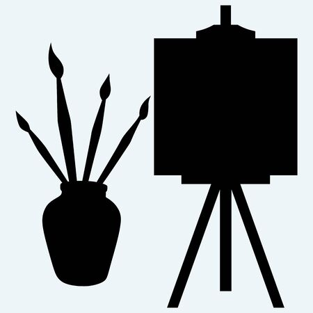 daubs: Brushes in vase and easel with empty canvas. Isolated on blue background. Vector silhouettes Illustration