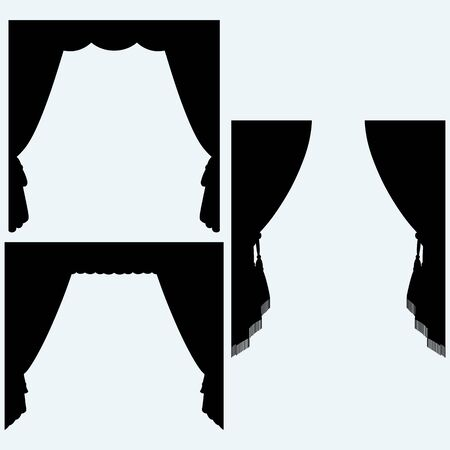 velvet rope: Set of silk curtains open. Isolated on blue background. Vector silhouettes