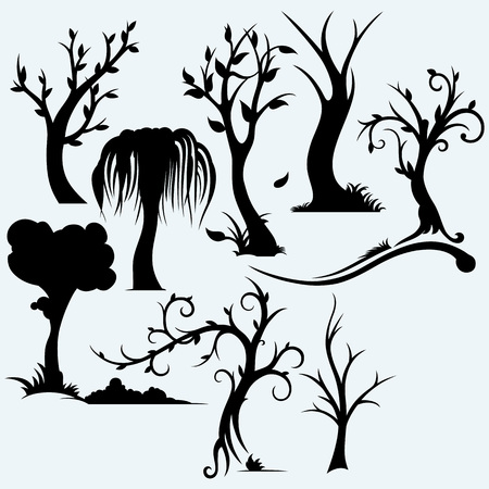 bareness: Collection of bare trees. Isolated on blue background. Vector silhouettes