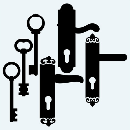 handles: Door handles and keys. Isolated on blue background. Vector silhouettes