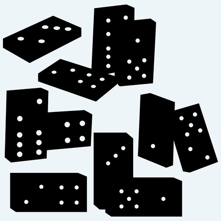 gambling stone: Set dominoes. Isolated on blue background. Vector silhouettes Illustration