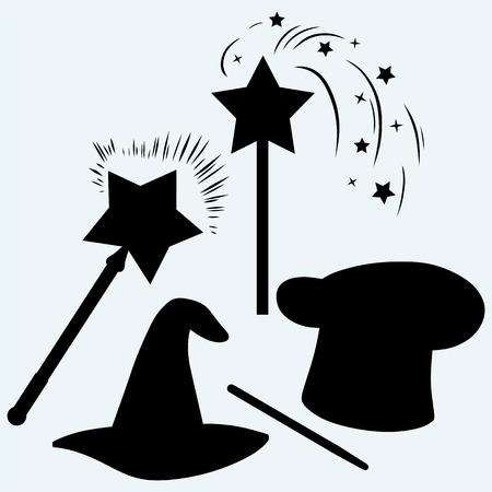 conjuring: Set magic hat with magic wand sparkles. Isolated on blue background. Vector silhouettes