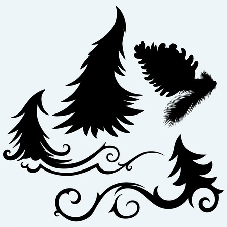pine trees: Set christmas trees and pine cone. Isolated on blue background. Vector silhouettes Illustration