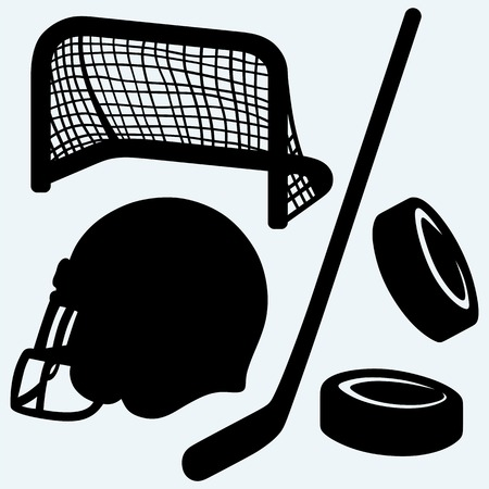 ice rink: Hockey icon. stick, puck, hockey gates and helmet. Isolated on blue background. Vector silhouettes
