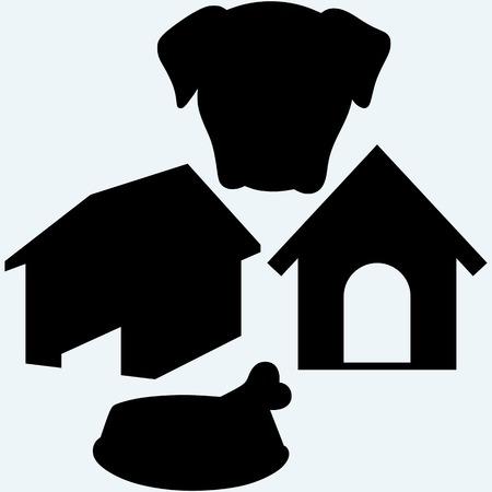 doghouse: Dog bowl with bone. Doghouse. Isolated on blue background.
