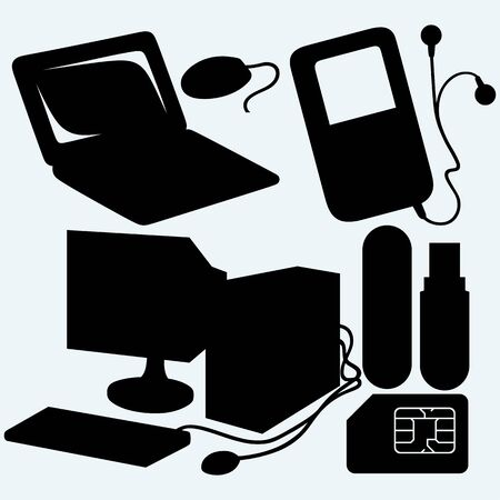 computer memory: Netbook, system unit, computer mouse, usb flash memory and mobile phone sim. Isolated on blue background.