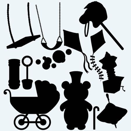 molinete: Conjunto de temas infantiles. Kite, caballo de juguete, Jack-in-the-box, columpio, pompas de jab�n y perinola. Aislado en el fondo azul. Vectores