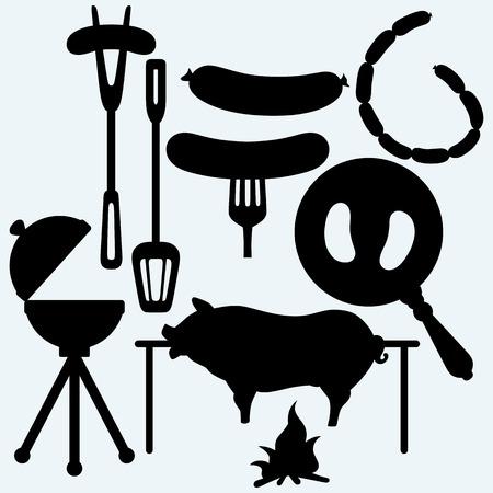 stock photography 구운 된 소시지에 포크와 프라이팬, bbq 개체 및 구운 돼지의 집합입니다. 파란색 배경에 고립.