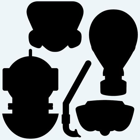 snorkelling: Set of different masks. Isolated on blue background.  Illustration