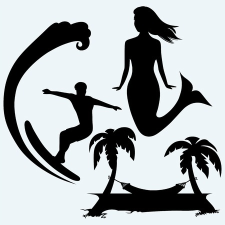 Surfer on ocean wave, cute mermaid and romantic hammock between palm trees. Isolated on blue background.