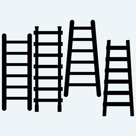rungs: Set wooden staircase. Isolated on blue background.  Illustration