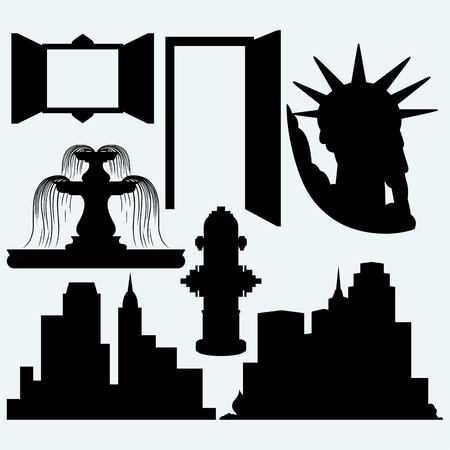 fountains: Elements architecture. Panoramic city, statue liberty, fountain, fire hydrant, open door and window. Isolated on blue background.  Illustration