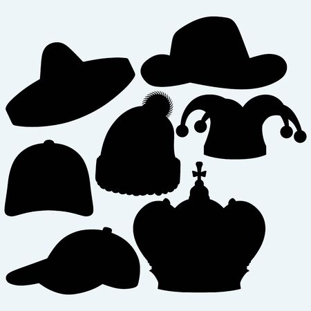 hat cap: Set of headgear. Crown, winter hat, baseball cap, cowboy hat, jester hat and mexican. Isolated on blue background.