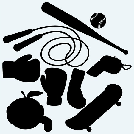 sporting: Set sporting goods. Skateboard, jump rope, baseball and boxing gloves. Isolated on blue background.