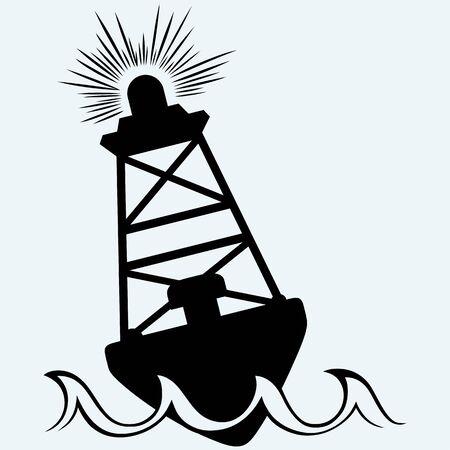 warning icon: Warning buoy off the coast. Isolated on blue background.