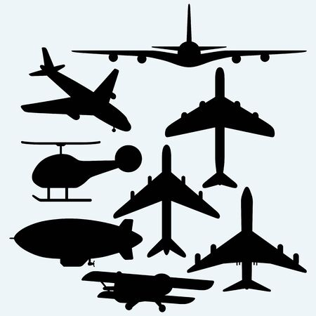 jets: Set jets, dirigible, helicopter. Isolated on blue background.