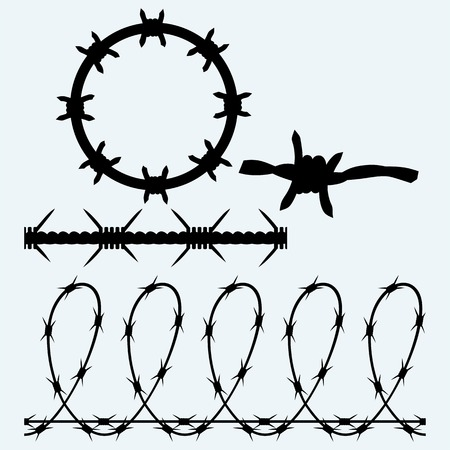 Set symbol barbed wire. Isolated on blue background.