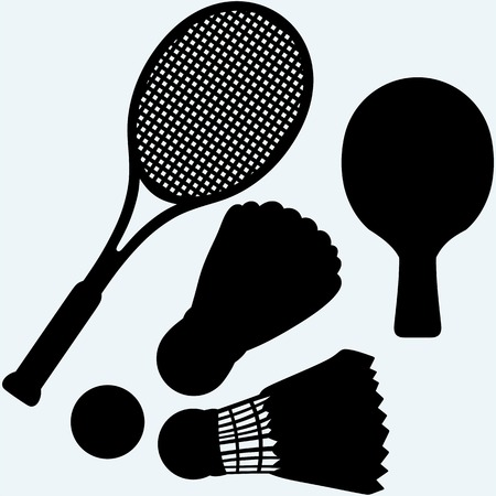 battledore: table tennis, tennis and badminton racket and shuttlecocks. Isolated on blue background.