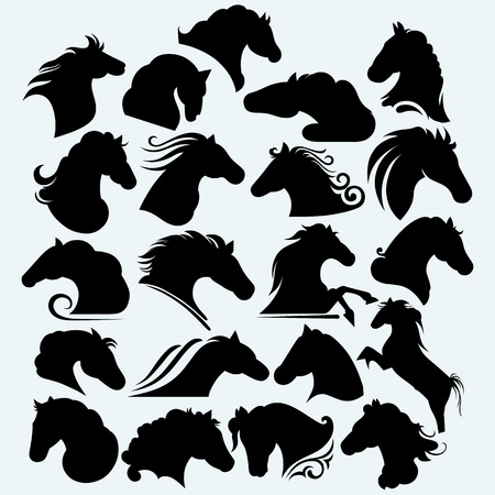 cabeza de caballo: Establecer caballos salvajes icono. Aislado en el fondo azul.
