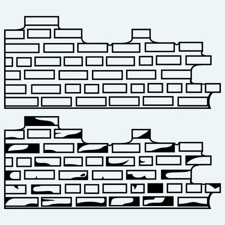 stonework: Old brick wall. Isolated on blue background. Vector silhouettes