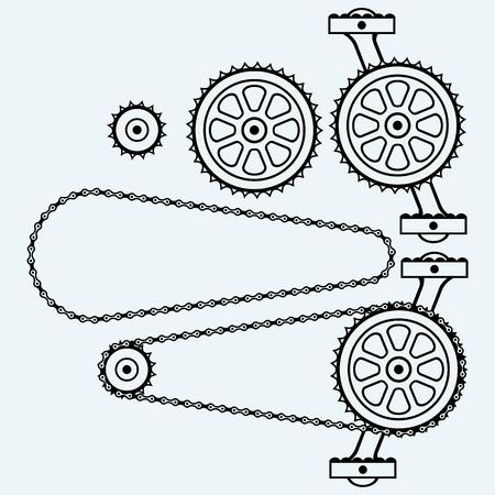cadenas: Conjunto engranajes de cadena. Aislado en el fondo azul. siluetas del vector Vectores