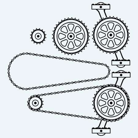 crank: Set chain gears. Isolated on blue background. Vector silhouettes Illustration