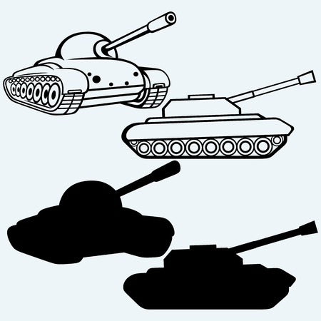 firepower: Tank. Set of military vehicles. Isolated on blue background. Vector silhouettes
