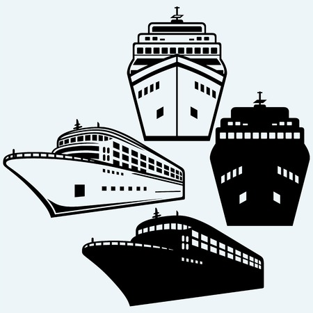 ships: Big cruise ship. Isolated on blue background. Vector silhouettes