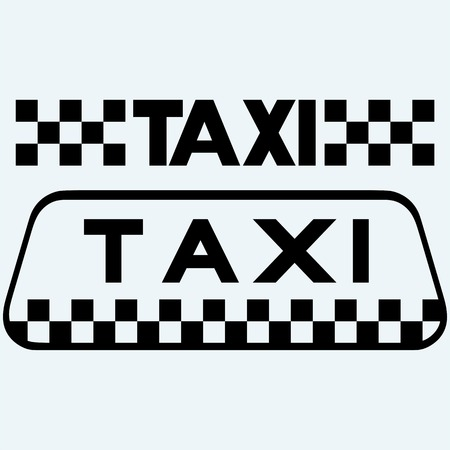 Taxi icons set. Isolated on blue background. Vector silhouettes Vector Illustration