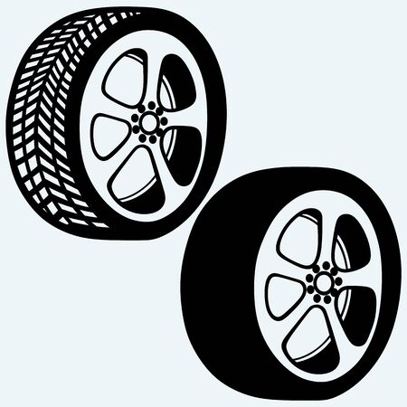 vector tyre: Tyre wheels automobile. Isolated on blue background. Vector silhouettes Illustration