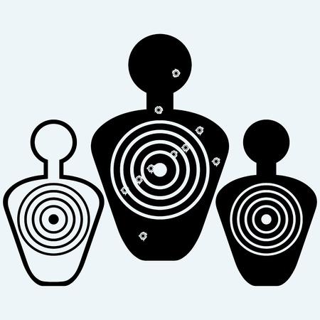 air hole: Target with bullet holes. Isolated on blue background. Vector silhouettes Illustration