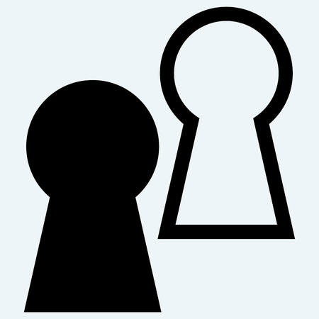 key hole: Keyhole symbol. Isolated on blue background. Vector silhouettes