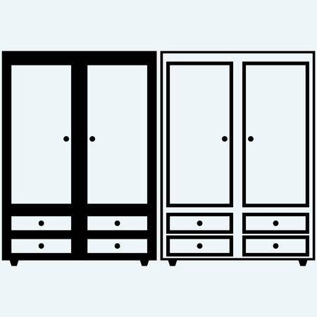 larder: Closed cupboard. Isolated on blue background. Vector silhouettes