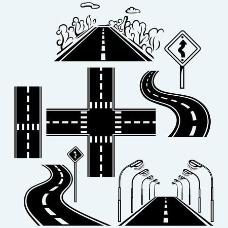 Road symbols with winding highways, forked pathways and crossroads for transportation. Street lighting lamps. Isolated on blue background. Vector silhouettes