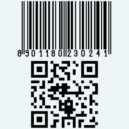 codigos de barra: Set barcodes. Isolated on blue background. Vector silhouettes