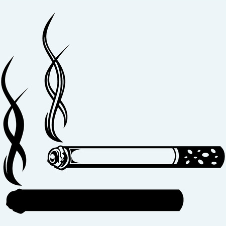butt: Cigarette burns. Isolated on blue background. Vector silhouettes