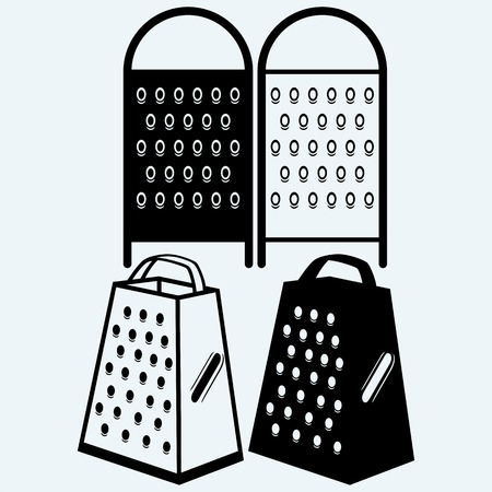 grater: Metal grater. Isolated on blue background. Vector silhouettes