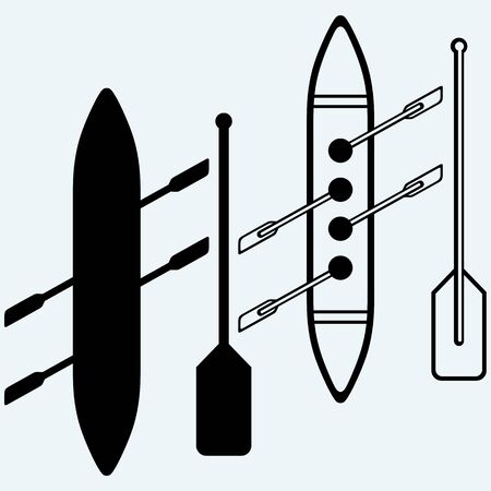 rows: Rowers, boat sports Isolated on blue background. Vector silhouettes