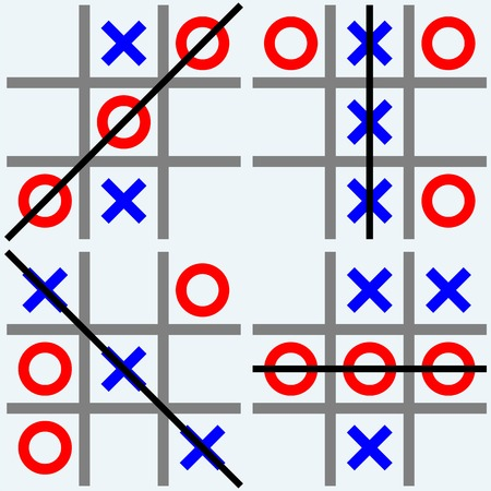 tic tac toe: Scribble tic tac toe. Noughts and crosses. Isolated on blue background. Vector silhouettes
