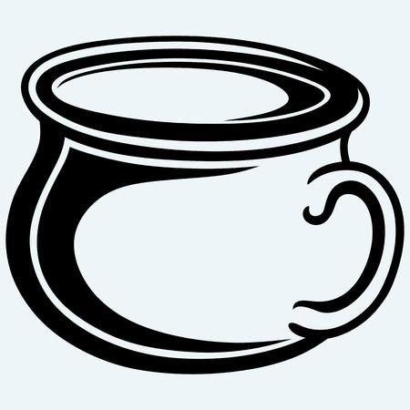 baby toilet seat: Gutbucket, pot. Isolated on blue background. Vector silhouettes Illustration