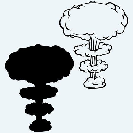 detonation: Explosion nuclear bomb. Isolated on blue background. Vector silhouettes