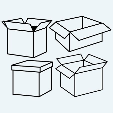 packer: Cardboard box. Isolated on blue background. Vector silhouettes
