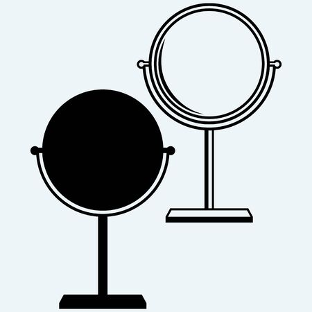penumbra: Makeup mirror. Isolated on blue background. Vector silhouettes