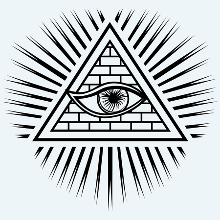all seeing eye: All seeing eye isolated on blue background