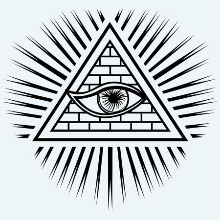 ojo de horus: Todo el ojo que ve aislado en el fondo azul
