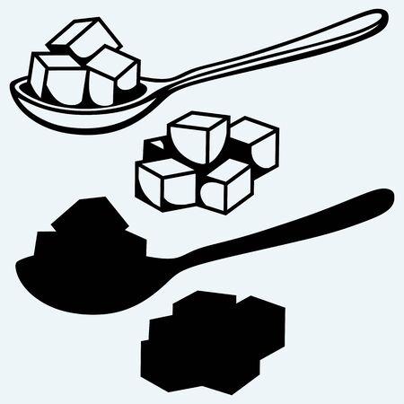 cubo: azúcar blanco refinado, cuchara. Aislado en el fondo azul. siluetas del vector